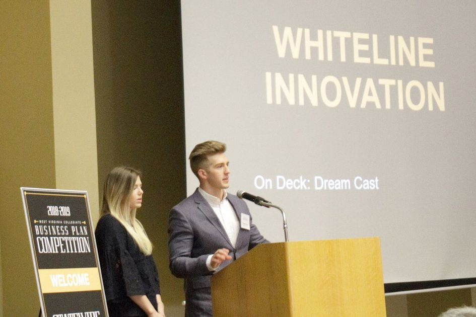Pictured presenting in the semi-final round are the brother-and-sister team of Kadee and Keegan Mueller of West Virginia University, whose business idea of Whiteline Innovation advanced to the final round