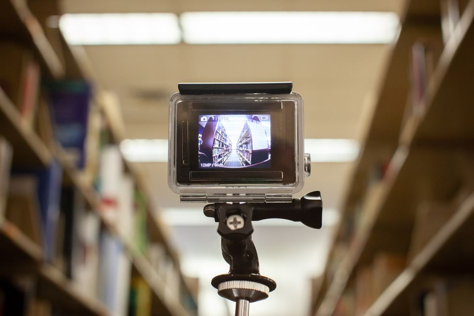 go pro camera in library stacks