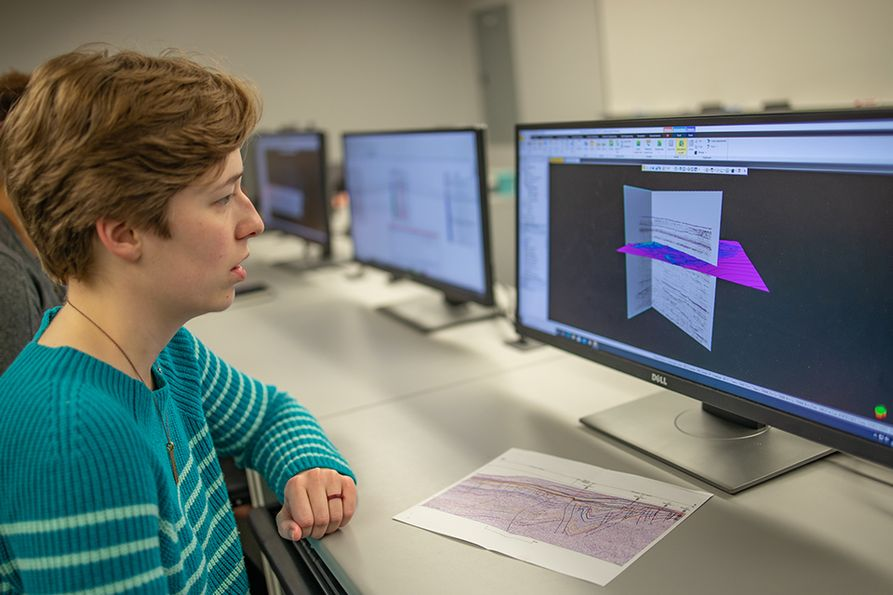 WVU graduate student Emily Jackson uses the Schlumberger Petrel E&P software platform in classes and to prepare for the Imperial Barrel Award Competition, which has been postponed due to COVID-19.