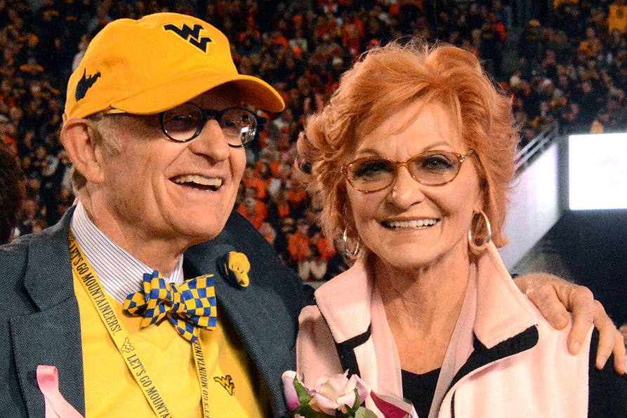 The late Betty Puskar is pictured with WVU President Gordon Gee.