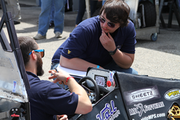 Jacob Hill ponders the judges question during the Design Event at the 2015 Formula SAE® Michigan Competition.