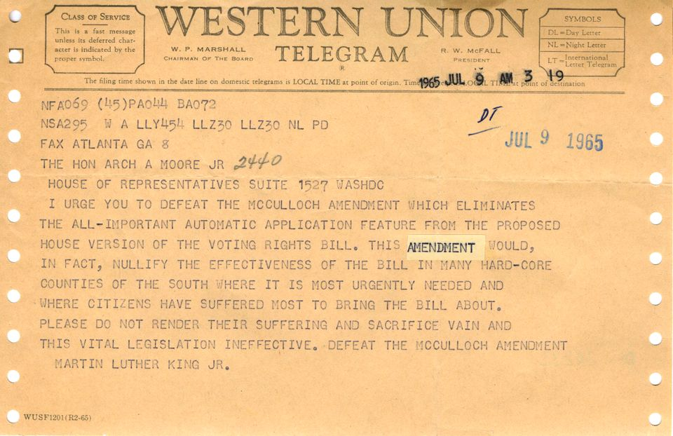 Telegram from Martin Luther King Jr. about the Voting Rights Act