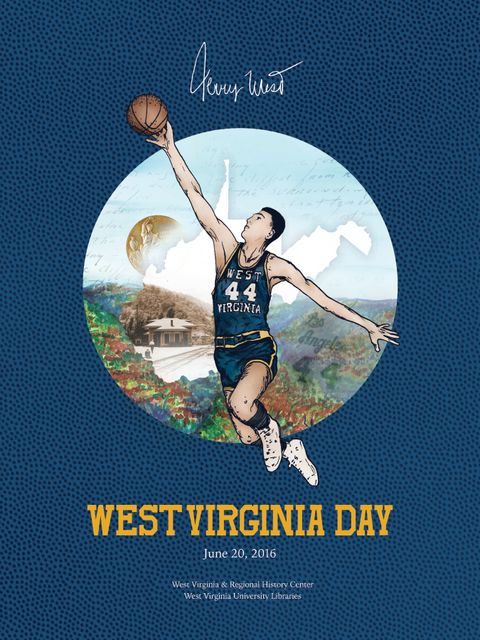 Image of Jerry West duking a basketball, on top of an image showing trees and an outline of the state, along with his signature