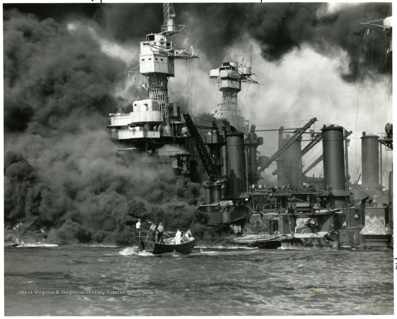 Photograph of USS West Virginia being attacked at Pearl Harbor