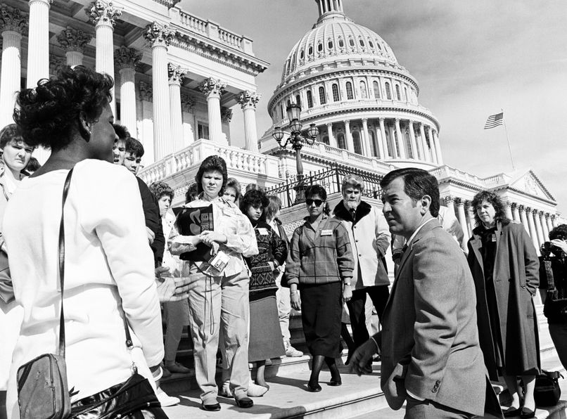 Congressman Nick Rahall speaks to constituents on the steps of the U.S. Capitol