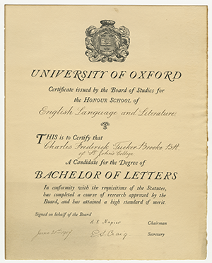 bachelor of letters certificate
