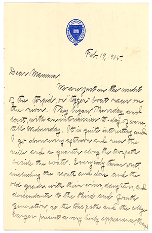 A letter from Tucker Brooke to his mother in 1905 on Union Club stationary.