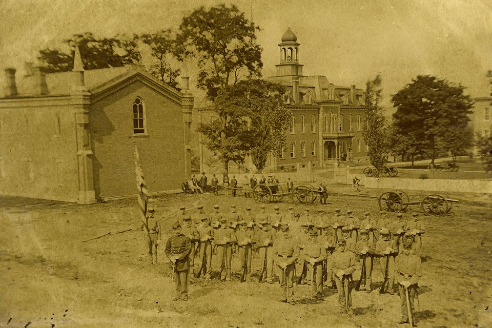 Cadets in front of Martin Hall.