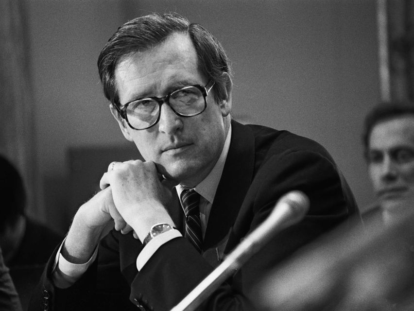 A black-and-white photograph of Jay Rockefeller