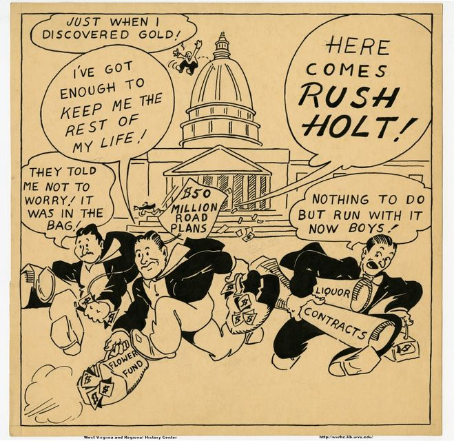 Political cartoon about Rush Holt featuring the U.S. Congress in the background and members running from the building