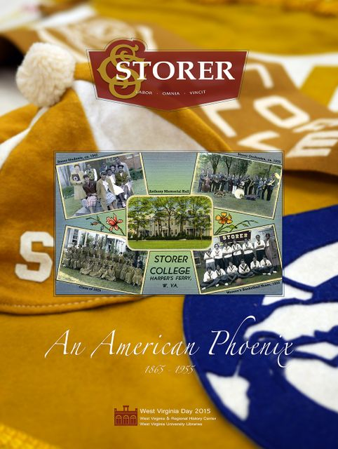 "The Text ""Storer"" and ""An American Phoenix"" on top of a photo of Storer College yellow and blue beanies and pennants, with a Storer College postcard on top"