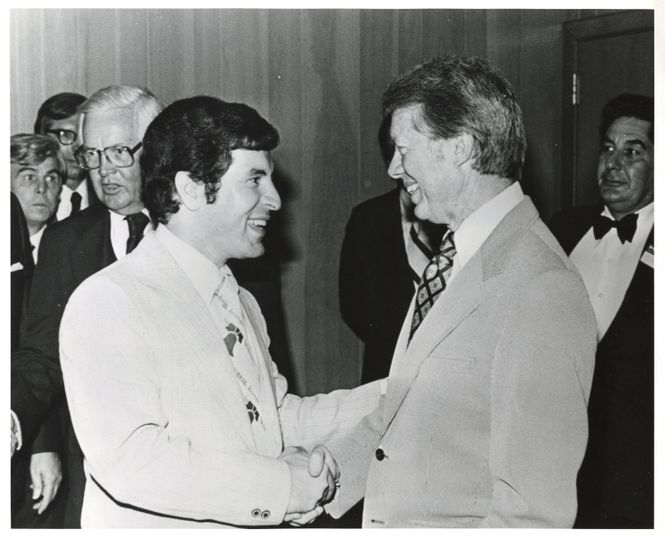 Photograph of Congressman Rahall shaking hands with President Jimmy Carter