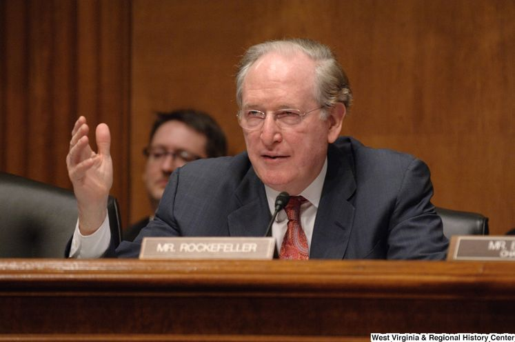 Photograph of Senator Jay Rockefeller gesturing with his hand during a Senate committee hearing