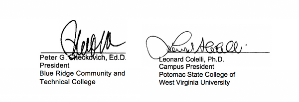 Signatures of Peter G. Checkovich and Leonard Colelli