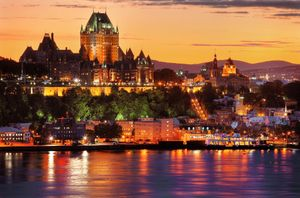 Québec City sits on the Saint Lawrence River in Canada's mostly French-speaking Québec province. Dating to 1608, it has a fortified colonial core, Vieux-Québec and Place Royale, with stone buildings and narrow streets. This area is the site of the towerin