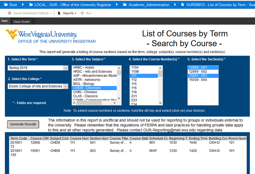 Screenshot of Argos report showing selected criteria for CHEM 111 assigned seating report.