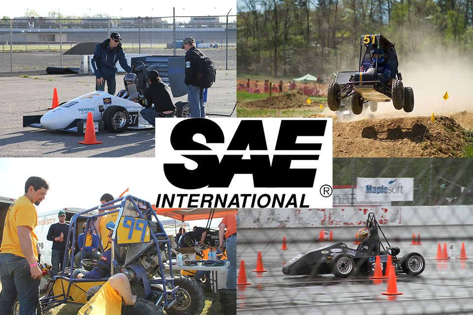 WVU Formula SAE and Baja SAE Competition Images shows students competitng in the Formula SAE and baja SAE Competitions