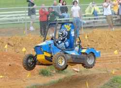 The WVU Baja car at catches air over a mogul at the 2011 Baja SAE®  Competition.