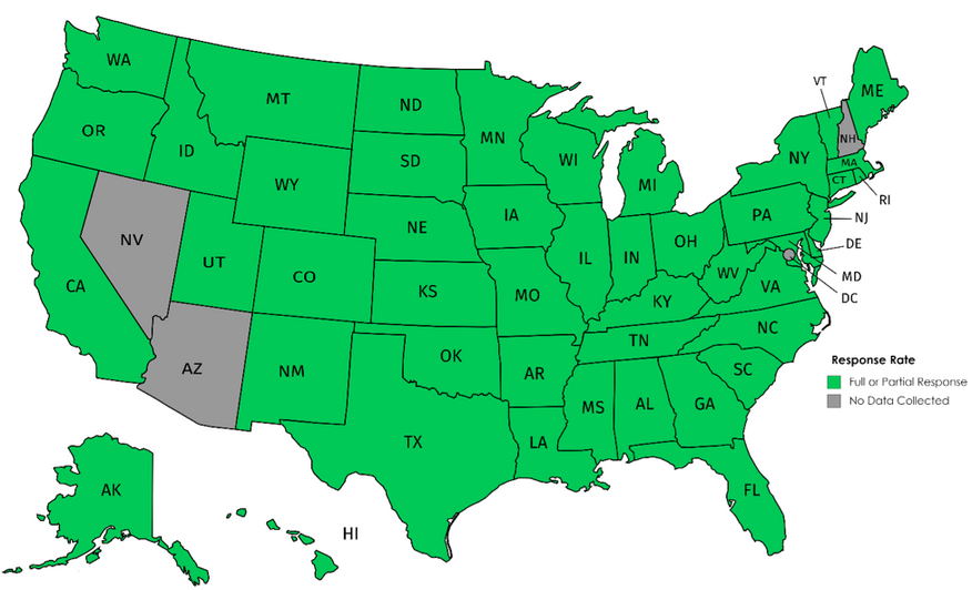 Map of the United States showing response to the survey by all states except NV, AZ, NH and the District of Columbia.
