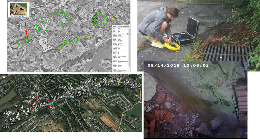 Photos documenting the inspection of stormwater catch basin and mapping