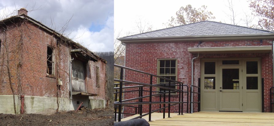 Before and after of brownfields webster springs site. A building in disrepair to the right, and the same buiding restored on the left.