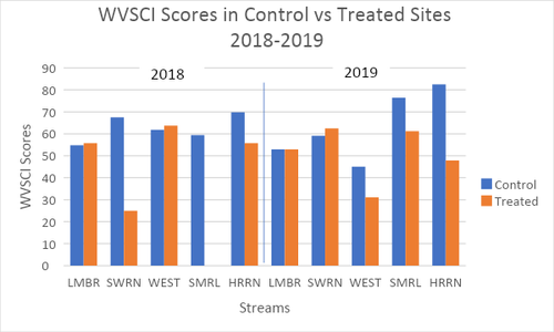 Photo showing a chart with WVSCI Scores in Control vs Treated Sites