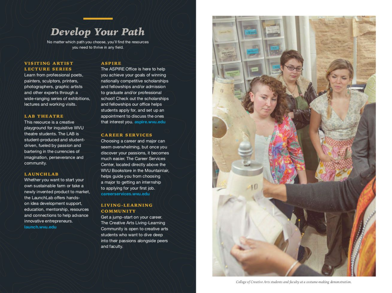 Career Pathway brochure spread with fashion designers
