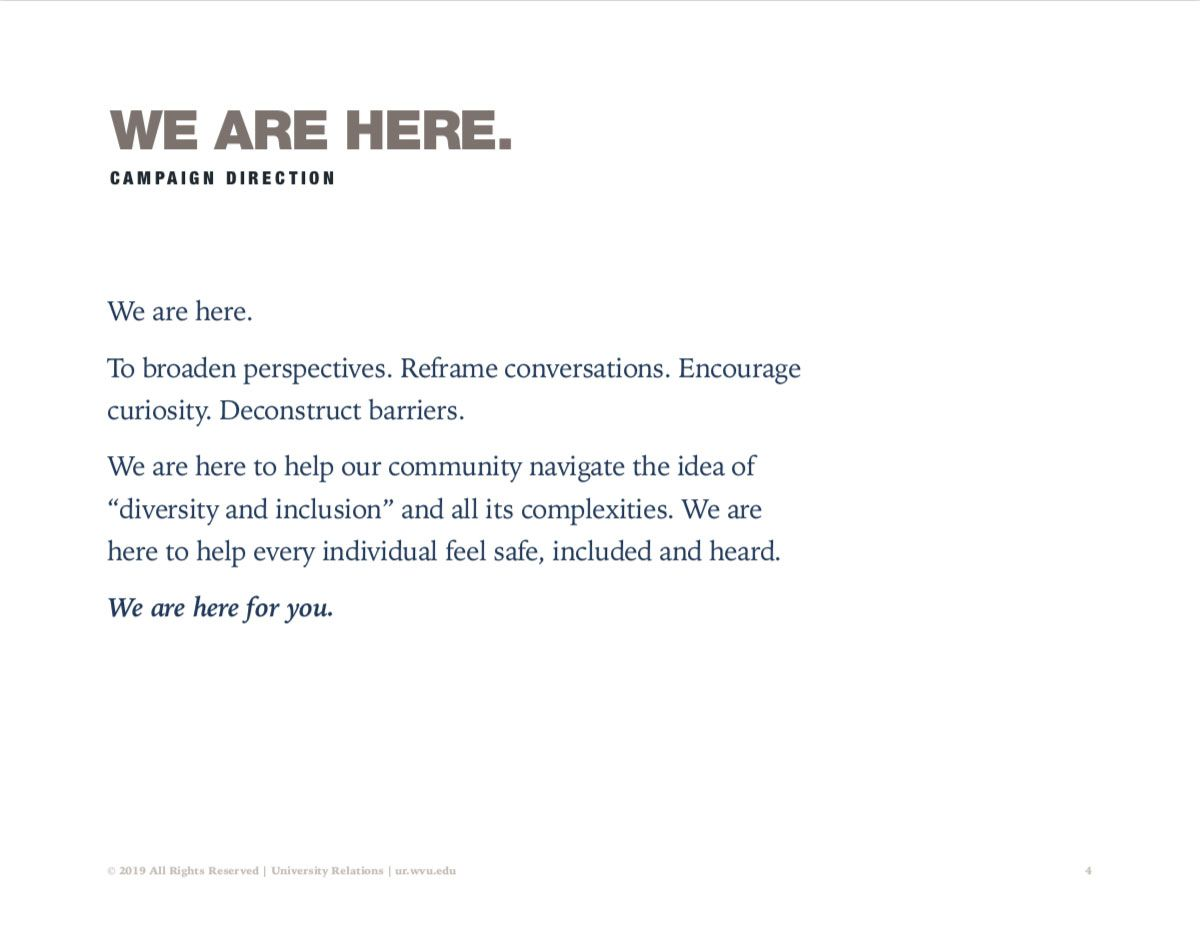 "Screenshot of Diversity campaign guide detailing main concept of ""We are here."""