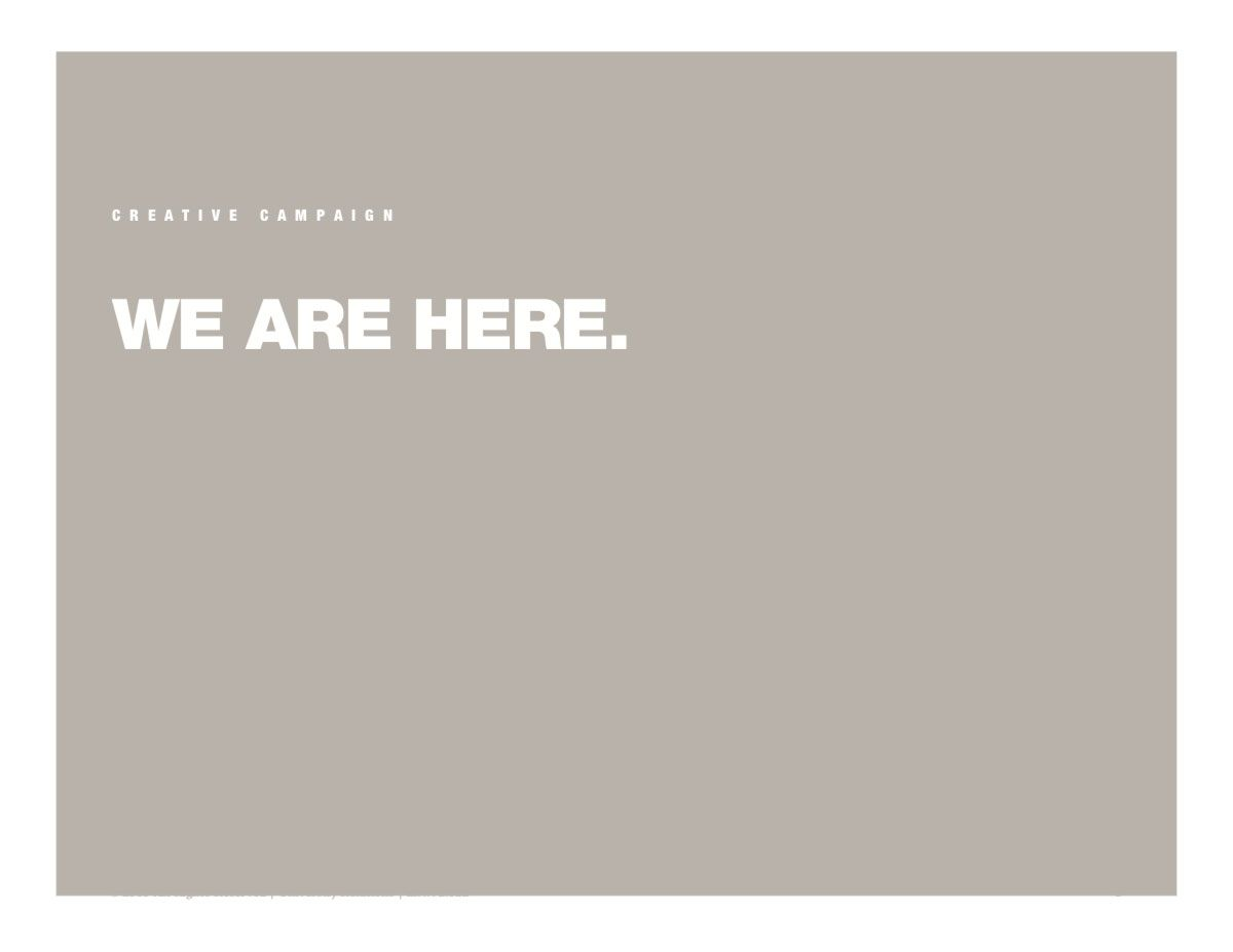 "Screenshot of main idea of the Diversity creative campaign: ""We are here."""