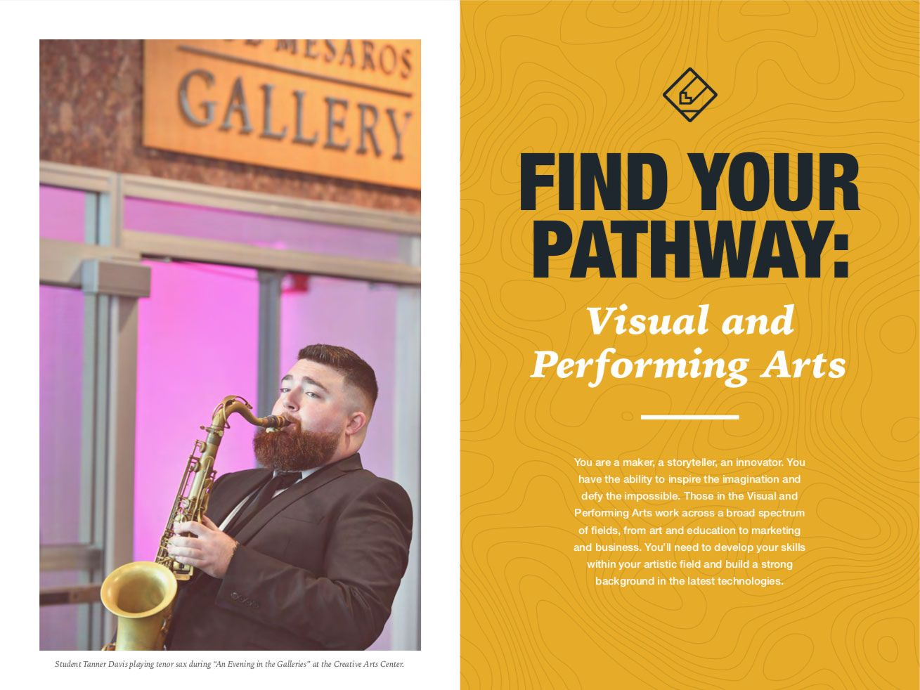 Career Pathway brochure spread with saxophone player