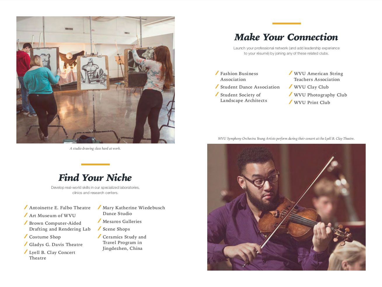 Career Pathway spread with violin player