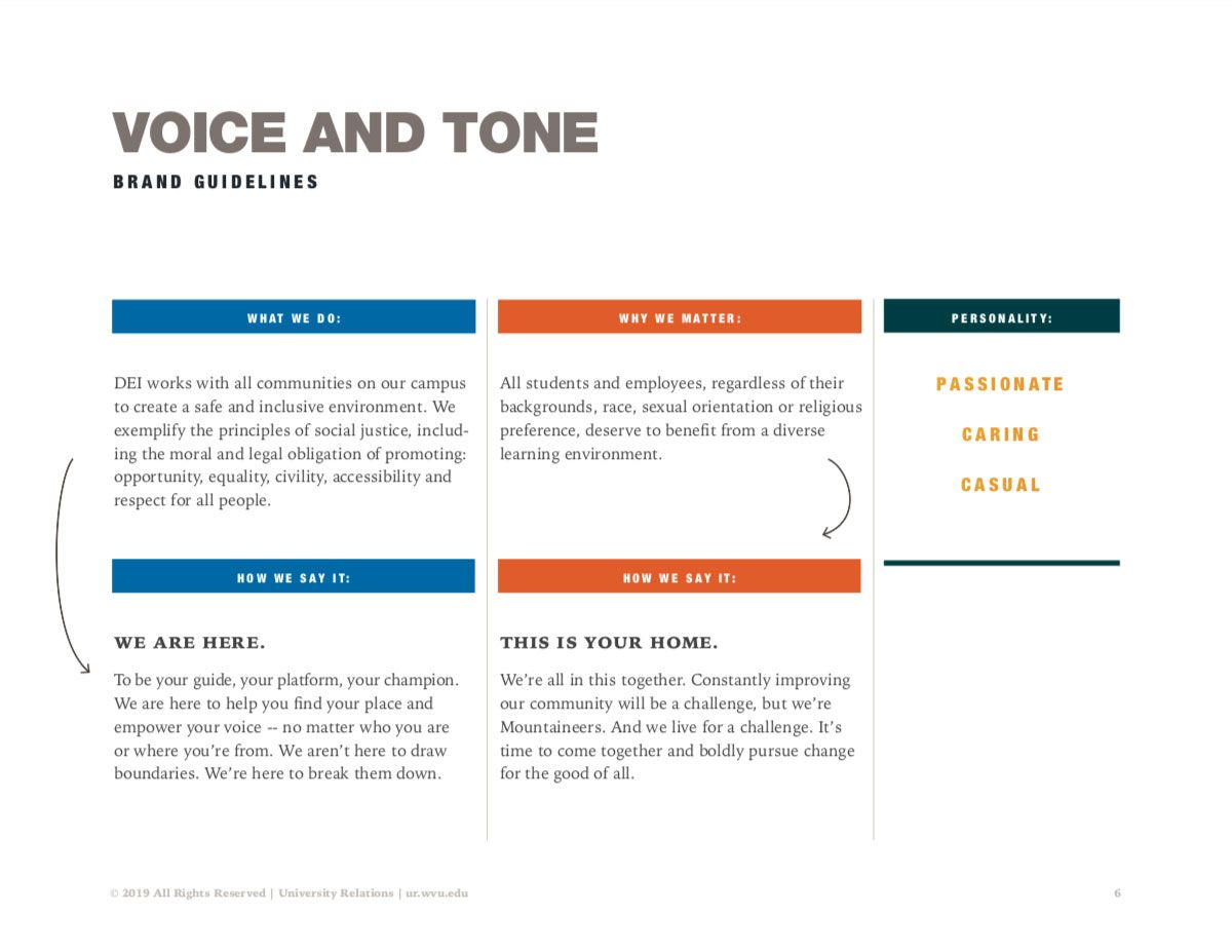 Screenshot of Diversity creative campaign guide explaining voice and tone.