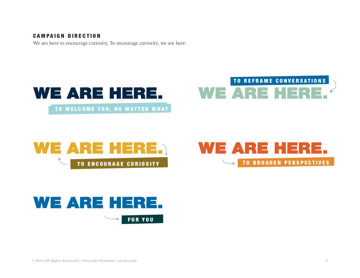 "Screenshot of Diversity creative campaign guide showing options for ""We are here"" slogan."