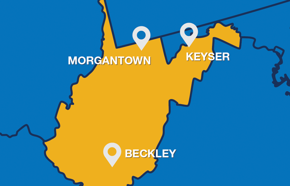 Map of WV showing Morgantown, Keyser, and Beckley locations