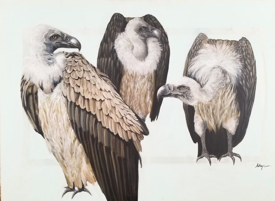 A painting of three vultures.