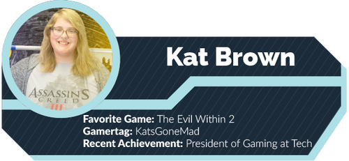 A graphic showing titles for Kat Brown.
