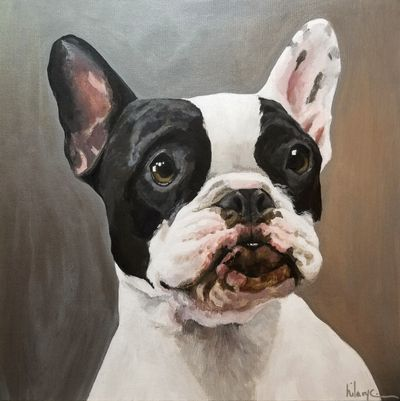 A painting of a dog named petal.