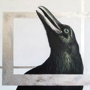 A painting of a crow against an off-white background.