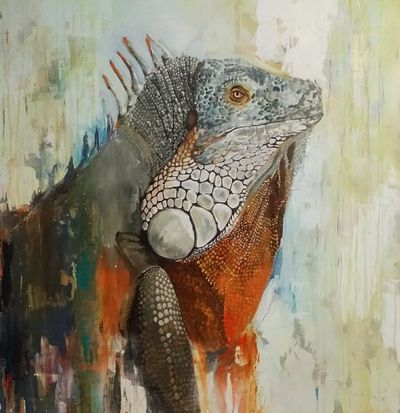 A colorful painting of a lizard.
