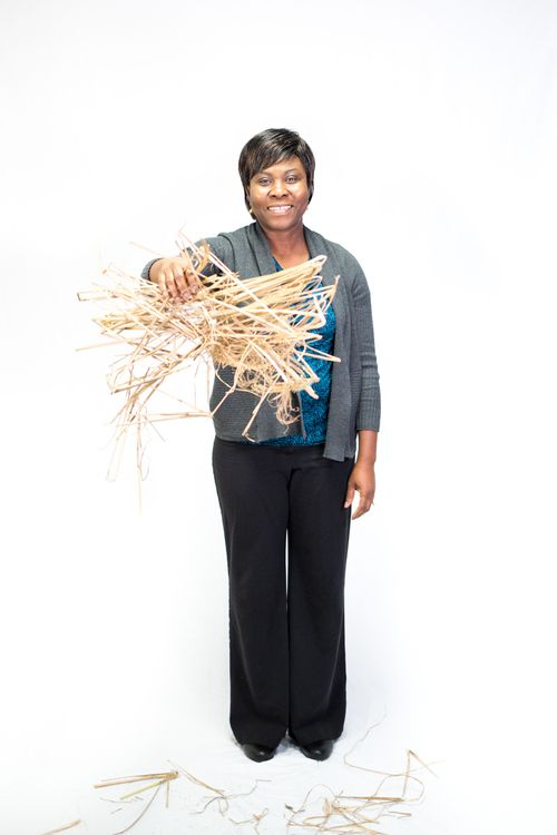 Dr. Gifty Osei-Prempeh drops a pile of Miscanthus