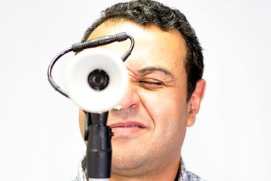 Dr. Amr jokingly acts like the camera is his eye