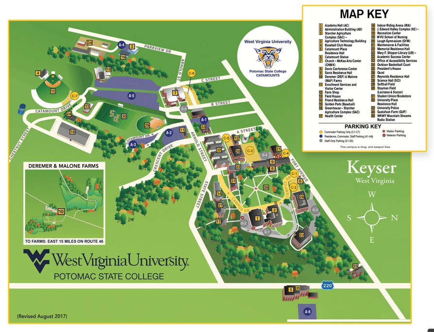 Governors State University Campus Map.Campus Map Wvu Keyser Campus West Virginia University