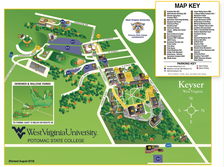 WVU Potomac State College Campus Map
