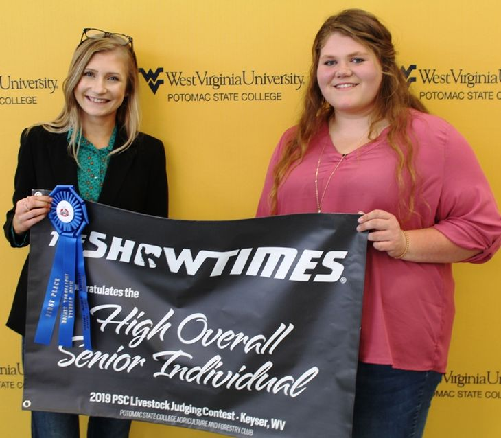 Katie Miltenberger, a member of the Mineral County FFA Senior Team, was named High Overall Senior Individual. Making the presentation was WVU Potomac State College Student Maggie Waugh, a sophomore Agriculture and Environmental Education major, who also s