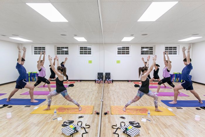 Students attending Yoga class in the J. Edward Kelley Complex at WVU Potomac State College