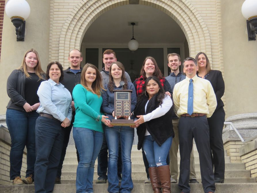The Criminal Justice team from West Virginia University Potomac State College is all smiles as they display their first-place trophy for taking top honors in the Crime Scene Competition at the West Virginia Criminal Justice Educators' Association's Annual