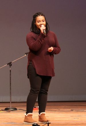 "PSC Student Tanner Minney won first place for her rendition of""Rise Up"" by Andra Day."