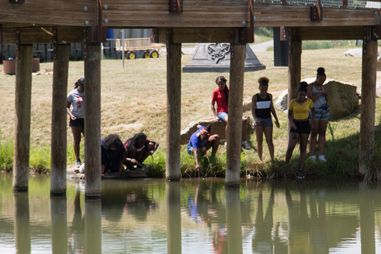 Group of students inspecting a pond for aquatic life