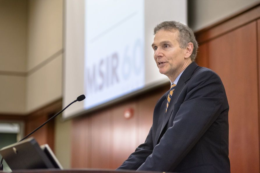 The 60th Anniversary celebration of WVU's MSIR program included program alumni and current graduate students last week. Marc Chini, Executive Vice President and Human Resources Leader at Synchrony Financial who earned MSIR and undergraduate degrees at WVU