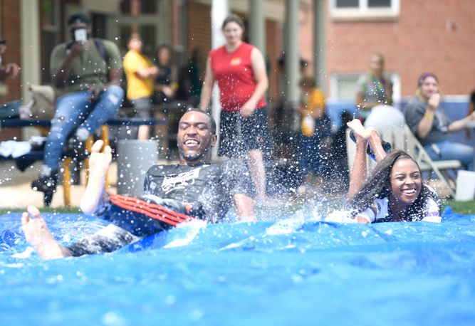 Students using slip and slide at WVU Potomac State College